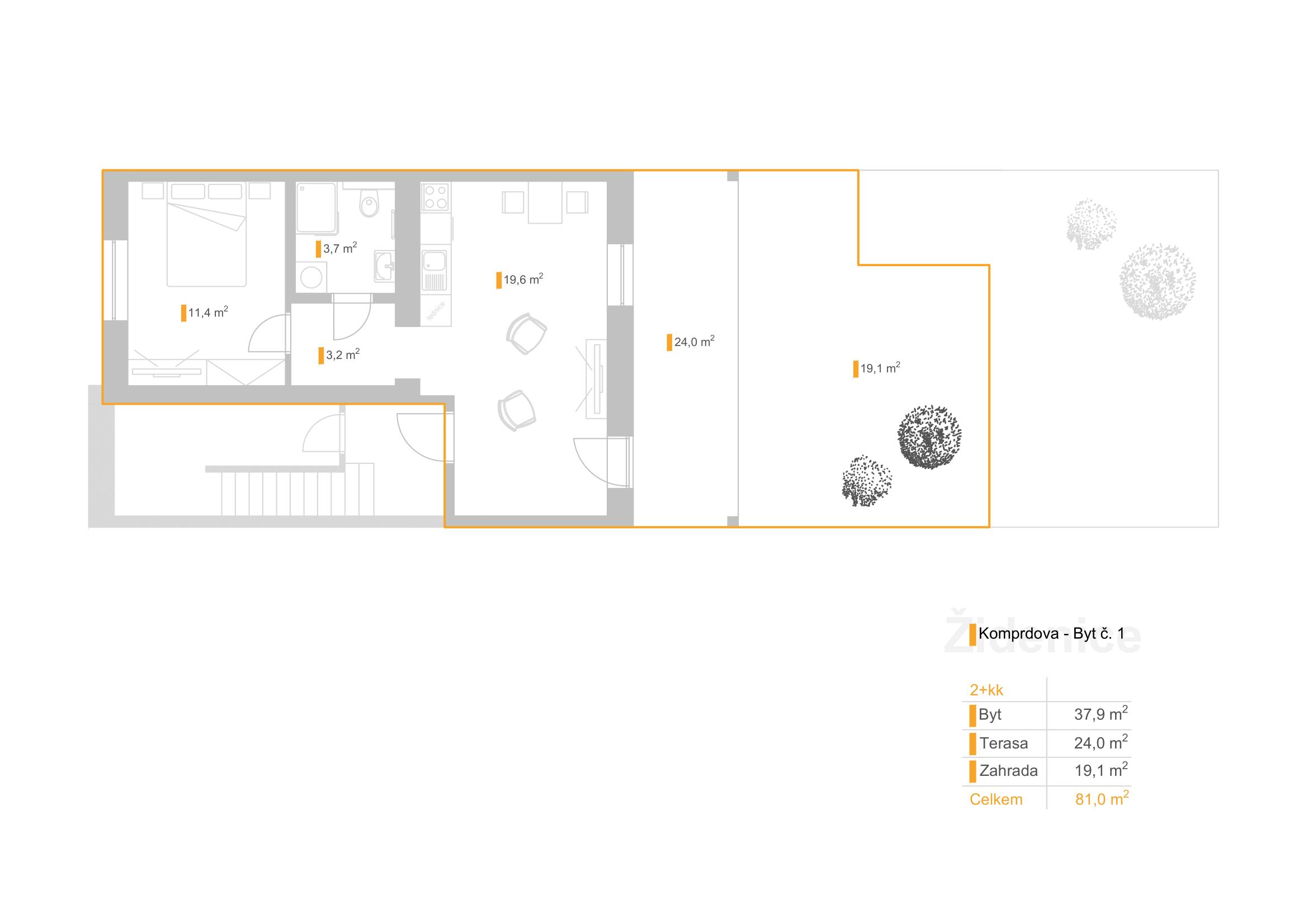 """2+KK – Bydlení """"Pod Akátky"""" – K5/1"""