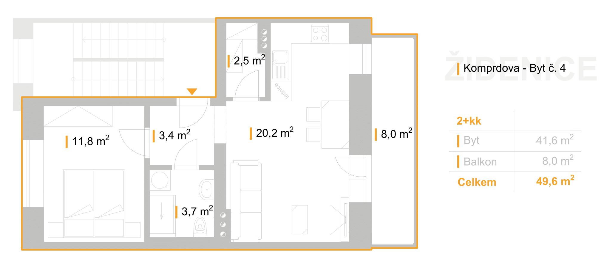 """2+KK – Bydlení """"Pod Akátky"""" – K7/4"""